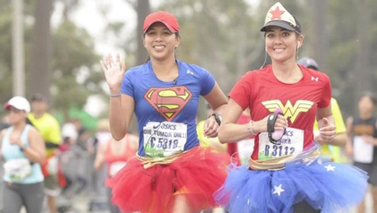 Image: Monika Allen of San Diego runs the Los Angeles marathon dressed as Wonder Woman and in a tutu