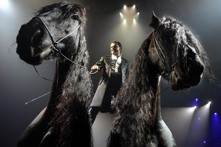 Image: Circus artist Maycol Errani stands on two horses