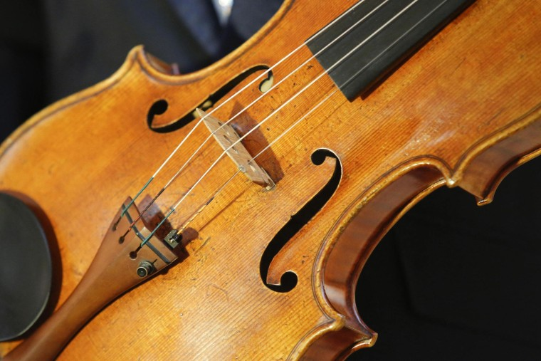 The 'Macdonald' Viola by Antonio Stradivari, made in 1719, is seen at Sotheby's gallery in New York,  March 27, 2014.