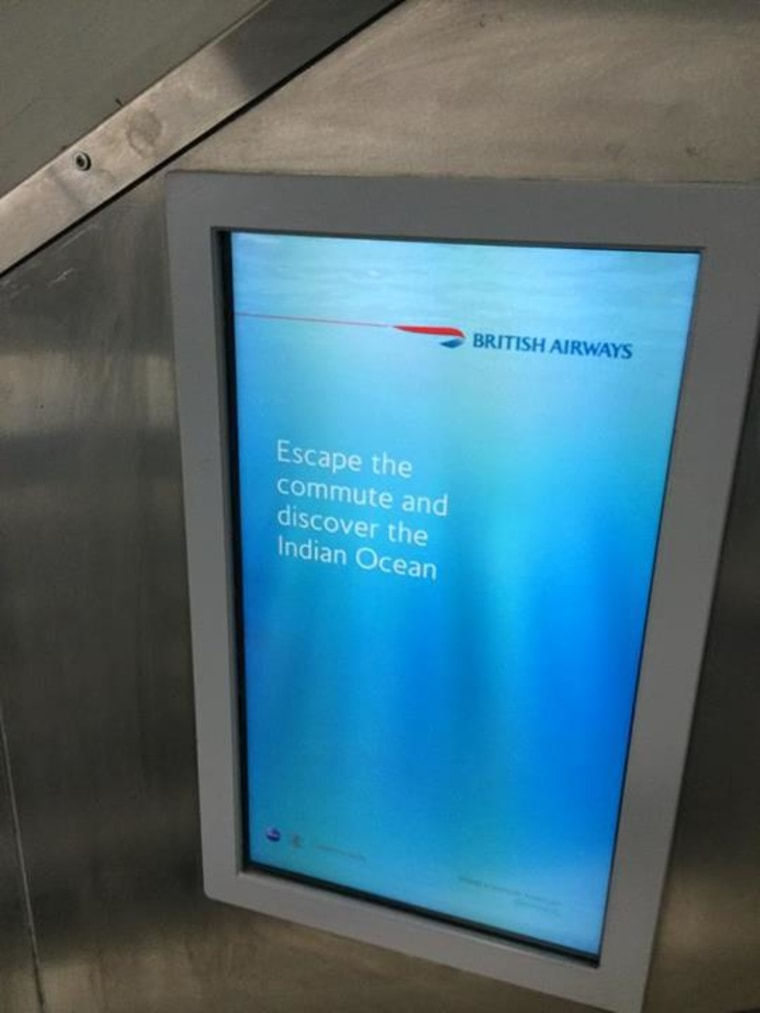 """A British Airways ad that appeared in the London Underground encourages people to """"discover the Indian Ocean."""""""