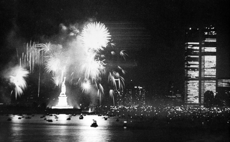 New York City celebrates the Declaration of Independence bicentennial anniversary, on July 4, 1976. The display ended a day of festivities in the New York Harbor, with boats and tall ships from across the world gathered for Operation Sail.