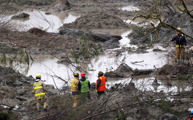 Image: Rescue workers search for victims of the mudslide in Oso
