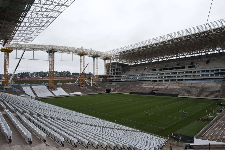 Image: Partial view of the construction site of Itaquerao football stadium which will host the opening football match of the Brazil 2014 FIFA World Cup, in Sao Paulo, Brazil