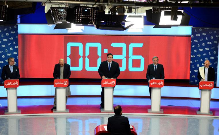 Image: Afghan presidential candidates debating.