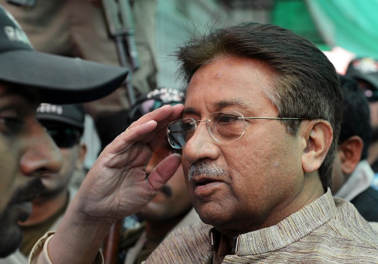 "Former Pakistani president Pervez Musharraf salutes as he is escorted by military personnel on his arrival at an anti-terrorism court in Islamabad on April 20, 2013. A Pakistani court indicted former military ruler Pervez Musharraf for treason on charges relating to his 2007 imposition of emergency rule, in a historic first for a country controlled for half its history by the army. Tahira Safdar, one of three judges of a special court convened to hear the case, read out five charges, with the ex-president pleading ""not guilty"" to each of them. Musharraf declared a state of emergency in November 2007, shortly before the Supreme Court was due to rule on the legality of his re-election as president a month earlier while he was also the army chief. He then arrested and sacked the country's top judges, including the chief justice, who challenged his decision. Musharraf has endured a torrid time since returning to Pakistan in March, 2013, on an ill-fated mission to run in the general election.  AFP PHOTO / AAMIR QURESHIAAMIR QURESHI/AFP/Getty Images"