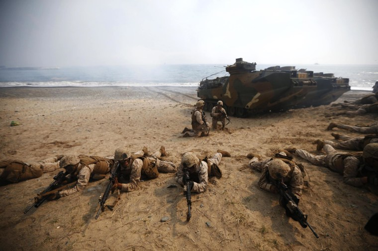 U.S. Marines participate in a U.S.-South Korea joint landing operation drill in Pohang, South Korea, on March 31, 2014. The drill is part of the two countries' annual military training called Foal Eagle.