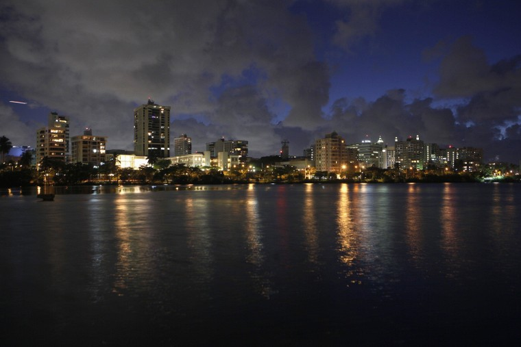 Image: A night view of the middle-upper class residential sector of Miramar in San Juan