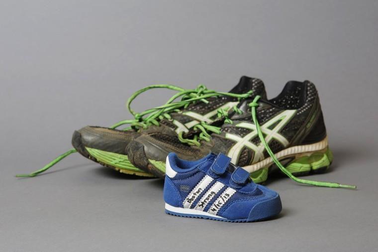Image: Runner's shoes, artifacts saved from the makeshift Boston Marathon bombing memorial