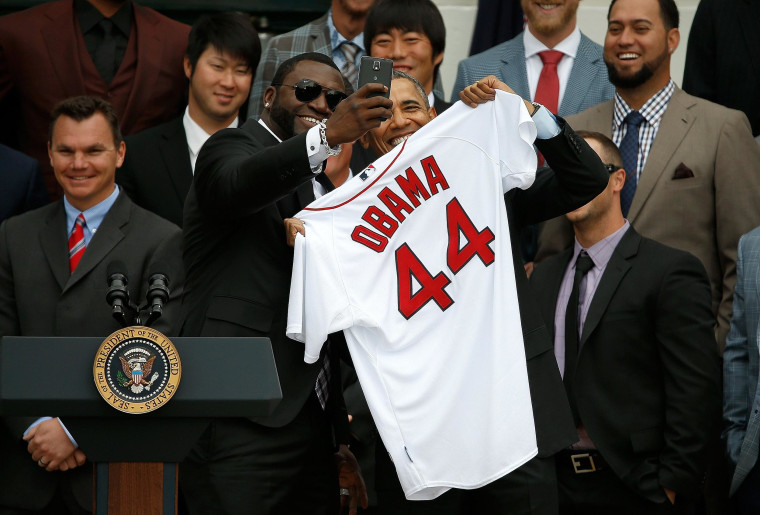 Image: Obama Welcomes World Series Champions Boston Red Sox To The White House