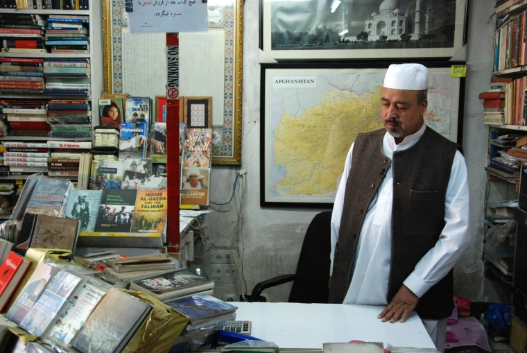 Image: Shah Mohammed Rais, widely know as the Bookseller of Kabul,at his bookstore in Kabul / March 31, 2014 / Carlo Angerer/NBC News