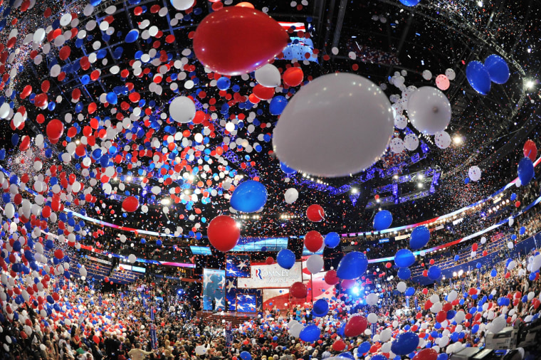Image: Balloons swirl in the air following Republican presidential candidate Mitt Romney's acceptance speech