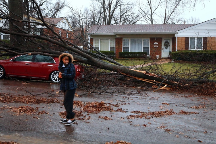 Tyann Scales, 14, walks through her neighborhood to see the damage after a tornado touched down briefly in the St. Louis area on April 3.