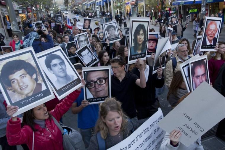 Image: Protest in Jerusalem against Palestinian prisoner release