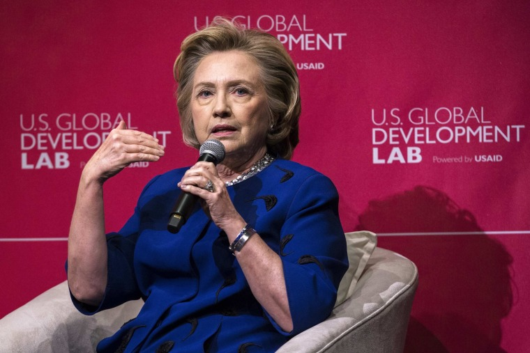 Image: Former U.S. Secretary of State Clinton speaks during the USAID announcement of the formation of the U.S. Global Development Lab, in New York