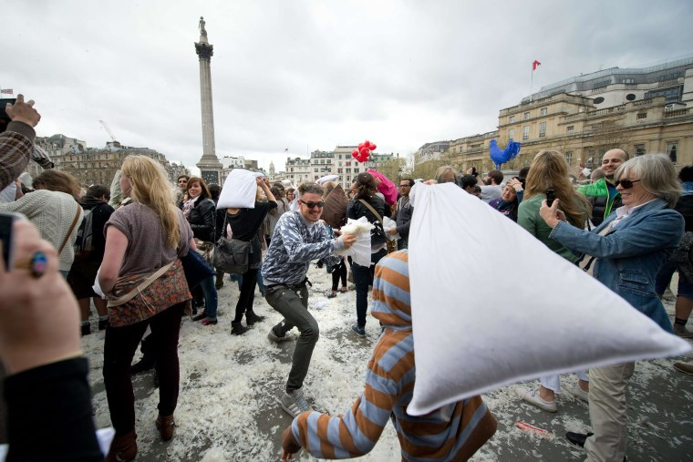 Image: BRITAIN-LIFESTYLE-OFFBEAT-PILLOW FIGHT