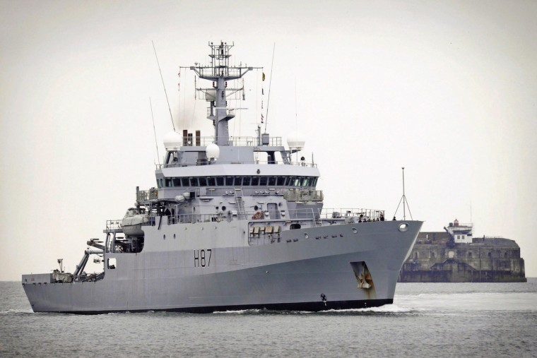 Image: British Royal Navy survey vessel HMS Echo is seen in this file handout photograph received via the Ministry of Defence (MoD) in London