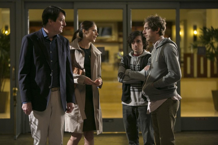 A scene from episode 1 of Silicon Valley shows, Christopher Evan Welch, Amanda Crew, Josh Brener, Thomas Middleditch.
