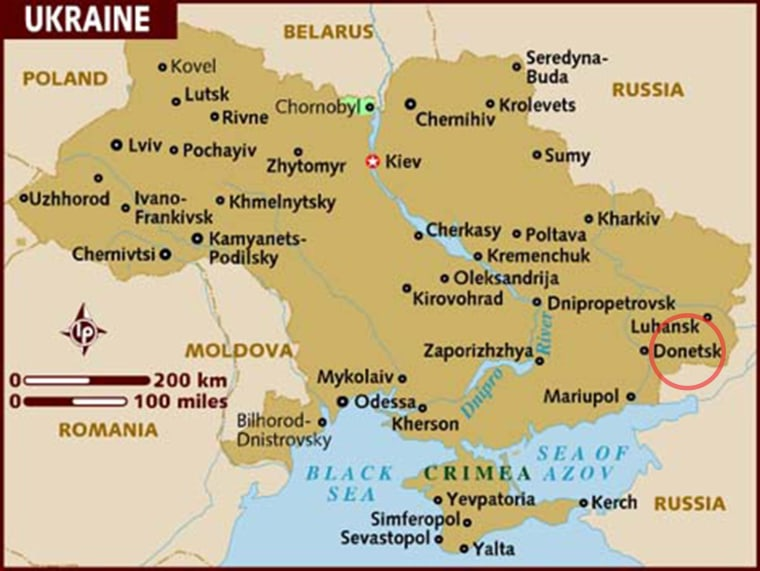 Map of Ukraine shows Donetsk in the far east, near the Russian border, circled.