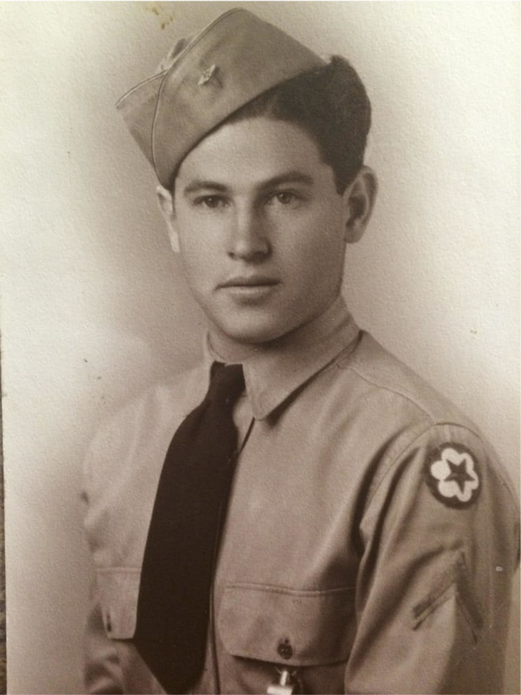 Linda Sanchez' grandfather, John S. Sanchez, entering the U.S. Army in 1944. The Sanchez family traces its presence in New Mexico to the 17th-century, where they received a land grant from Spain.