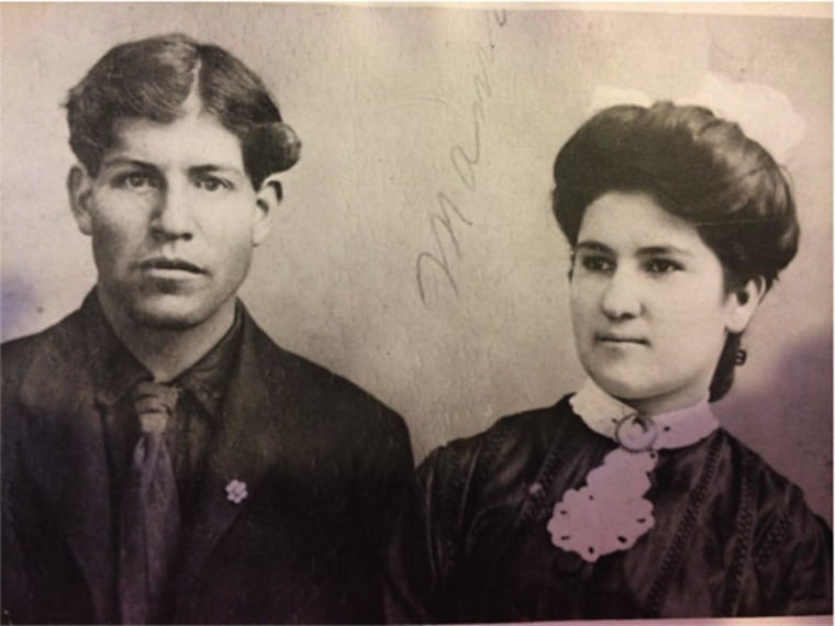 Lisa Sanchez' paternal grandparents, Felipe C. Sanchez and Juana Maria Sanchez, taken in the 1930s. The Sanchez family, of Spanish origin, traces its presence in New Mexico to the 17th-century, when they came after receiving a land grant from Spain.