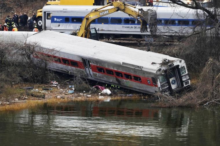 Image: A derailed Metro-North train car