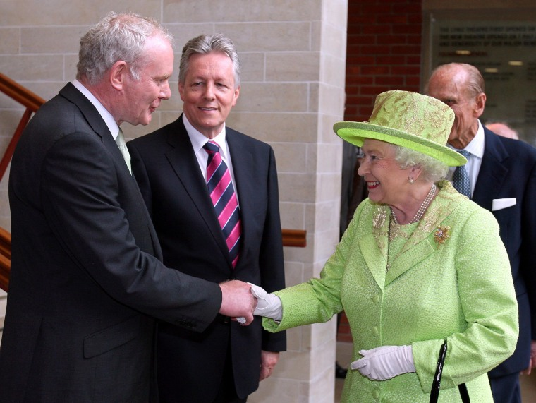 Image: Britain's Queen Elizabeth II shakes hands with Northern Ireland Deputy First Minister Martin McGuinness in 2012