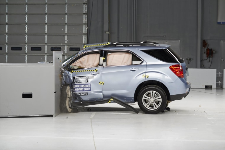 A 2014 Chevrolet Equinox is pictured during a crash test study conducted by the Insurance Institute for Highway Safety (IIHS) in this undated handout provided by the IIHS.
