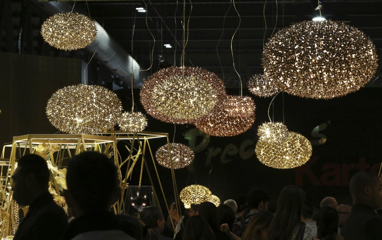 Image:Lamps designed by Kartell are displayed at the Milan Design Fair