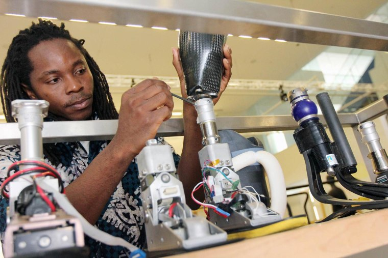 David Sengeh, a 26-year-old graduate student from Sierra Leone, was honored Wednesday with an award for his work on an innovative socket that makes prosthetic limbs more comfortable and thus functional for amputees.