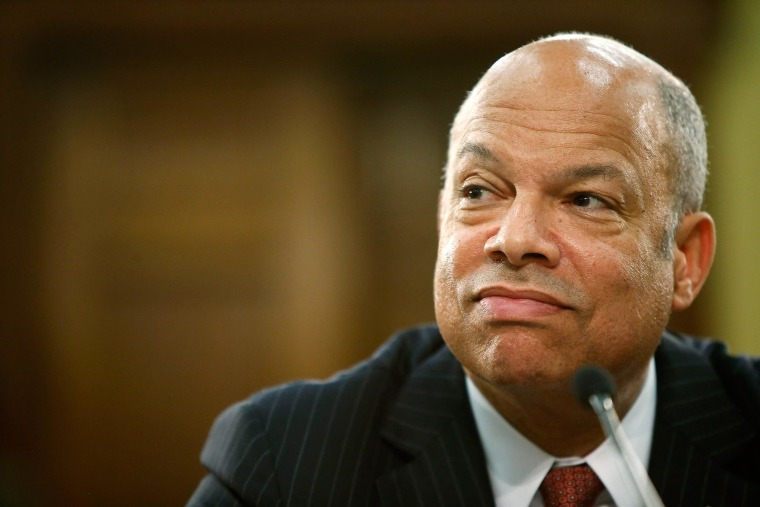 U.S. Homeland Security Secretary Jeh Johnson on Wednesday, April 9, met with members of the Congressional Hispanic Caucus to discuss immigration enforcement policies.