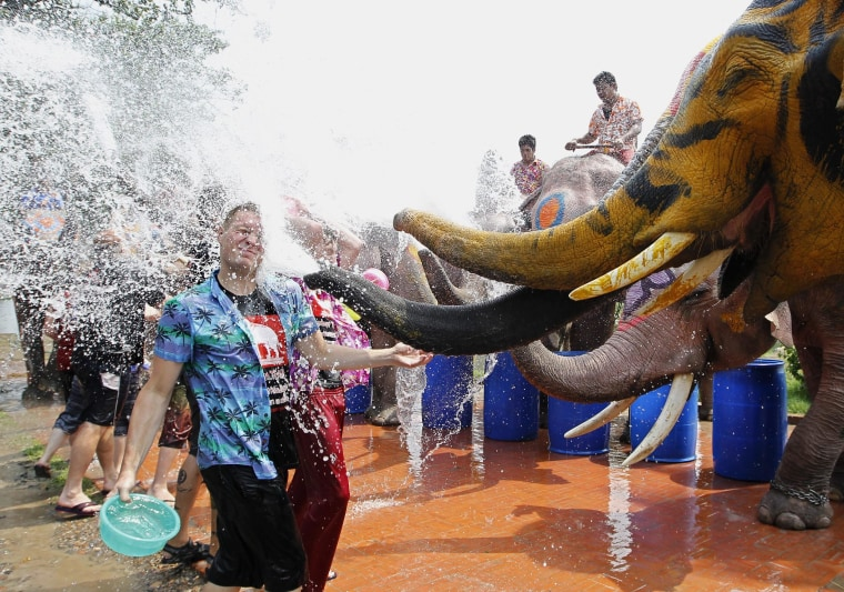 Image: A Thai elephant spray water at tourists to celebrate Songkran festival
