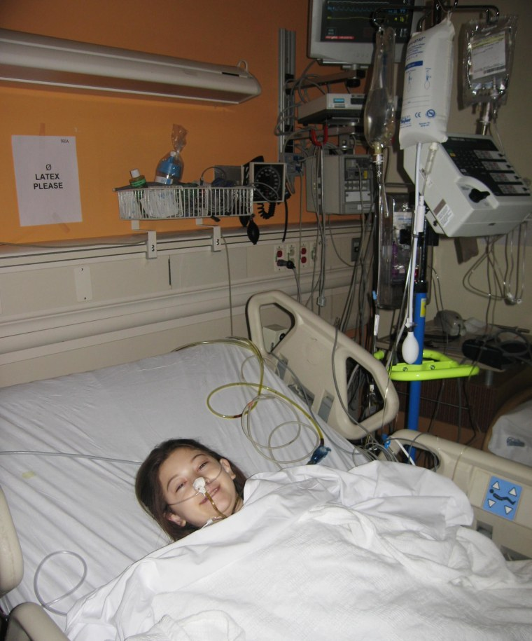 Elana Simon in the hospital after her fibrolamellar tumor was removed.