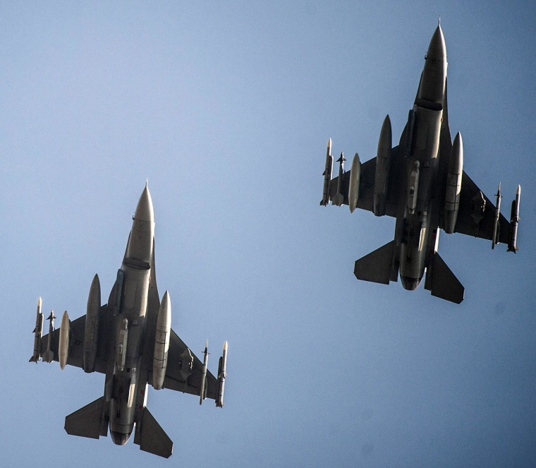 Image: U.S. F-16 fighter jets are seen in Polish air space