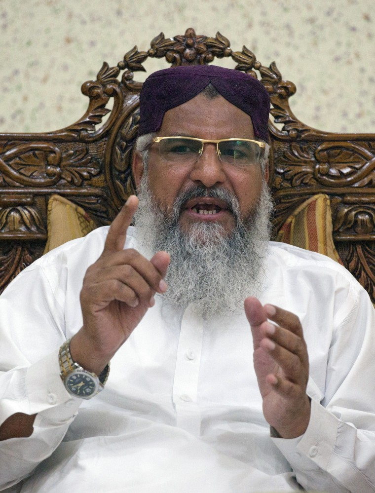 Head of Sipah-e-Sahaba Pakistan Maulana Mohammad Ahmed Ludhianvi speaks during an interview with Reuters at his home in Jhang