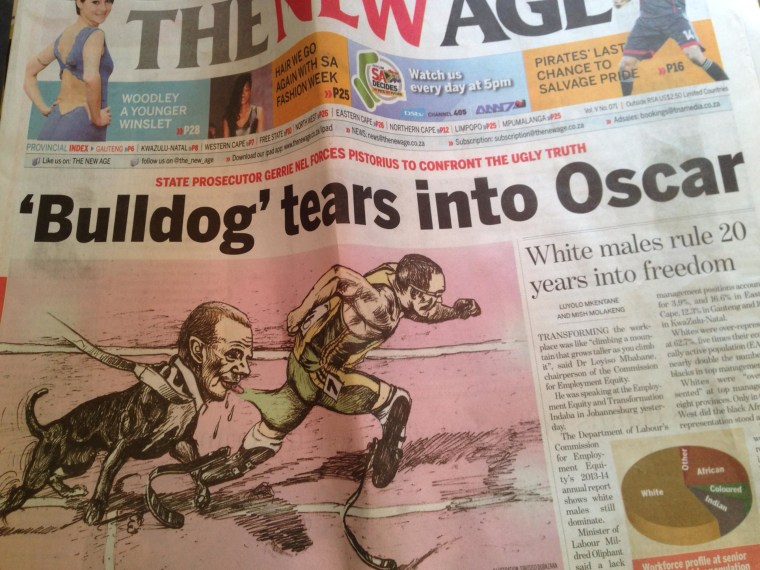 """The New Age newspaper in South Africa featured a cartoon depicting Oscar Pistorius and state prosecutor Gerrie """"The Bulldog"""" Nel."""