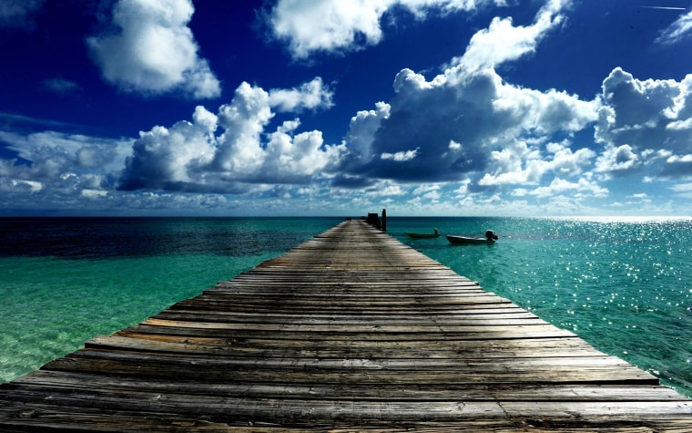 Image: A dock at Port Nelson on Rum Cay in the Bahamas