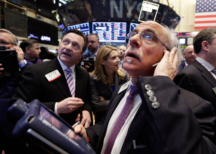 Stocks slumped on Thursday as investors ignored positive jobs data and sold off technology and biotech stocks.