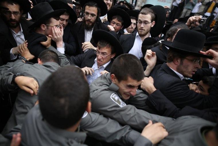 Image: ISRAEL-POLITICS-MILITARY-JUDAISM-ARREST-DEMO