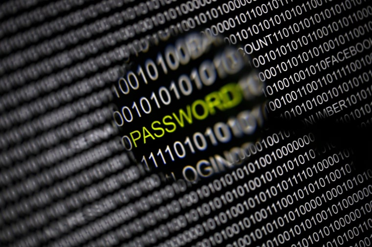 Image: The word 'password' pictured through a magnifying glass on a computer screen