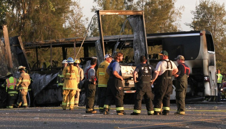 Image: Scene of crash between tour bus and truck near Orland, Calif.
