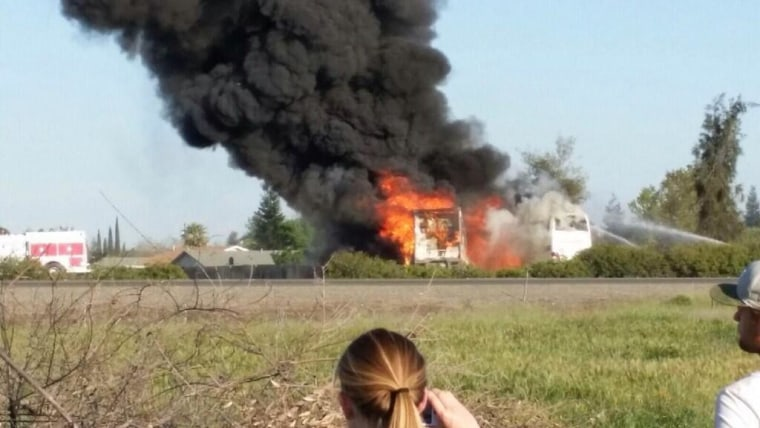 Image: Smoke billows after crash near Orland, Calif.