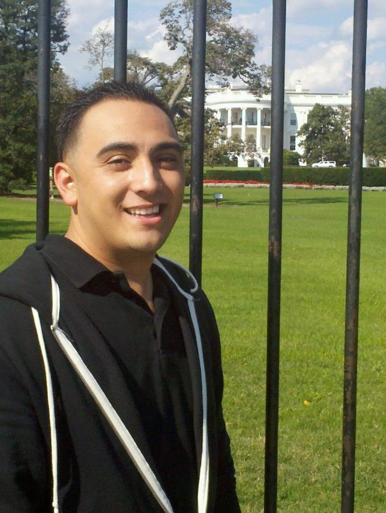 Arthur Arzola poses in front of the White House in a picture from his Facebook page. Arzola was one of at least ten people killed in a bus crash on Interstate 5 in California on April 10, 2014.