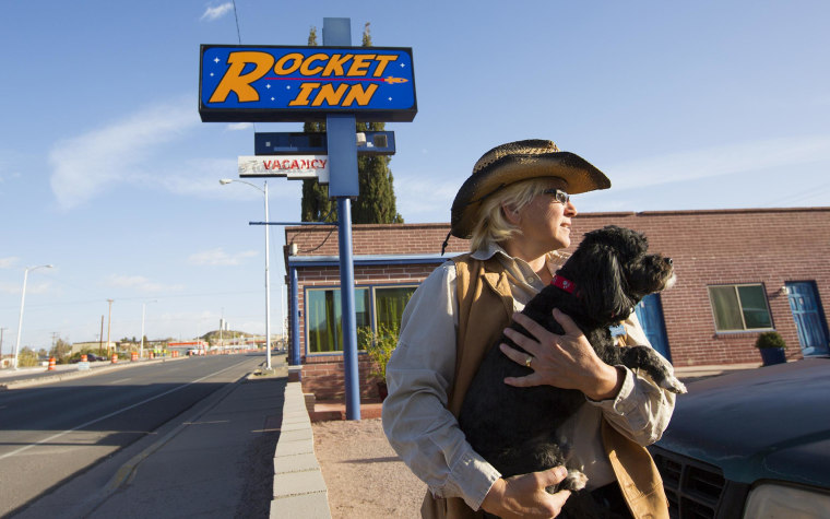 """Image: Val Wilkes, co-owner of the Rocket Inn in """"T or C"""" as the town is known locally."""