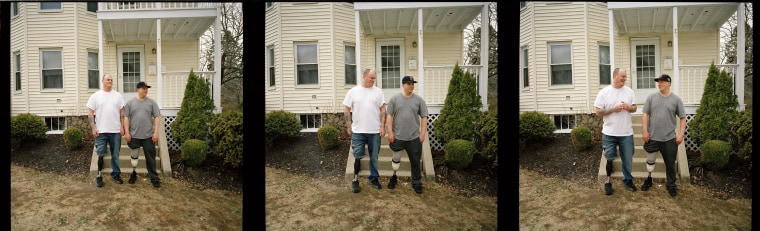 In this series of three images, Boston Marathon bombing survivors Paul, left, and J.P. Norden pose for a portrait outside their home in Stoneham, Mass., on April 7, 2014, a week before the one-year anniversary the terrorist attack in which both lost a right leg.