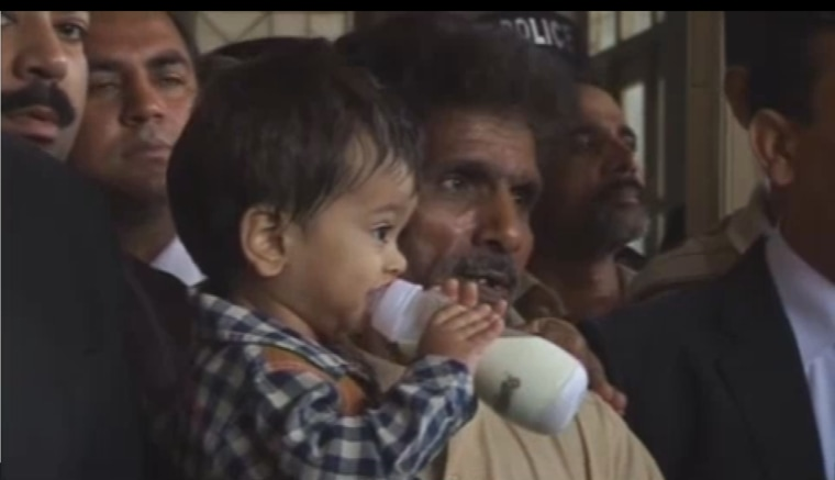 Image: Musa Khan was shown on television at a court in Lahore on Saturday.