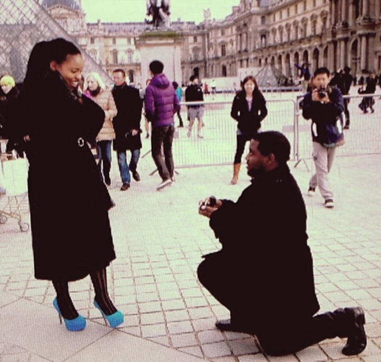 Michael Myvett proposes to Mattison Haywood in Paris. The two were chaperones on the bus carrying high school students to Humboldt State University when it was hit by a FedEx tractor trailer Thursday night. They were both killed in the crash.