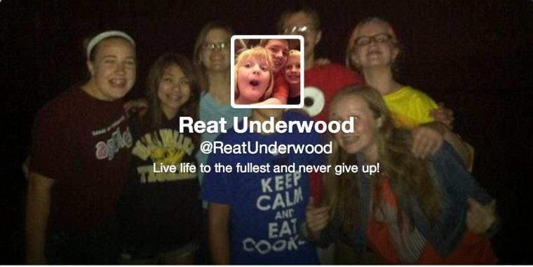 Reat Underwood's Twitter profile