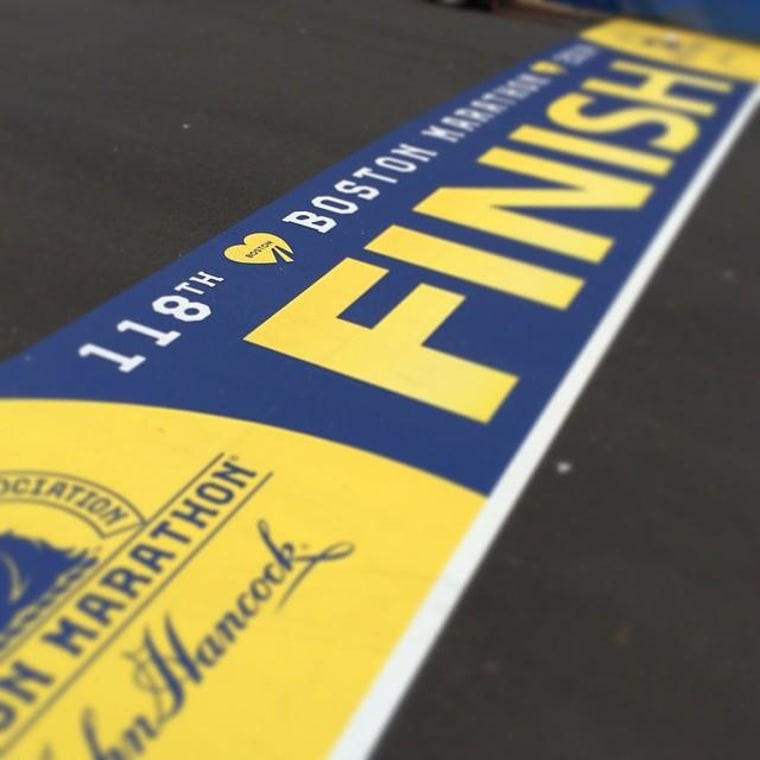 The Boston Marathon's finish line on April 14, 2014.