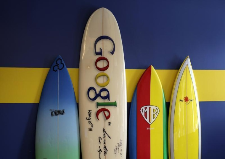 Image: Surfboards lean against a wall at the Google office in Santa Monica