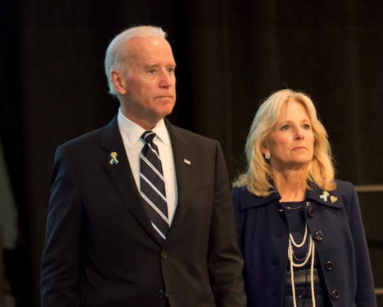 Vice President Joe Biden appears with his wife Dr. Jill Biden at a ceremony paying tribute the victims of the Boston Marathon bombings.